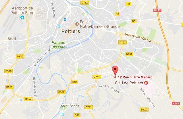 plan de Poitiers et de Saint-Benoit avec la localisation précise du Cresam